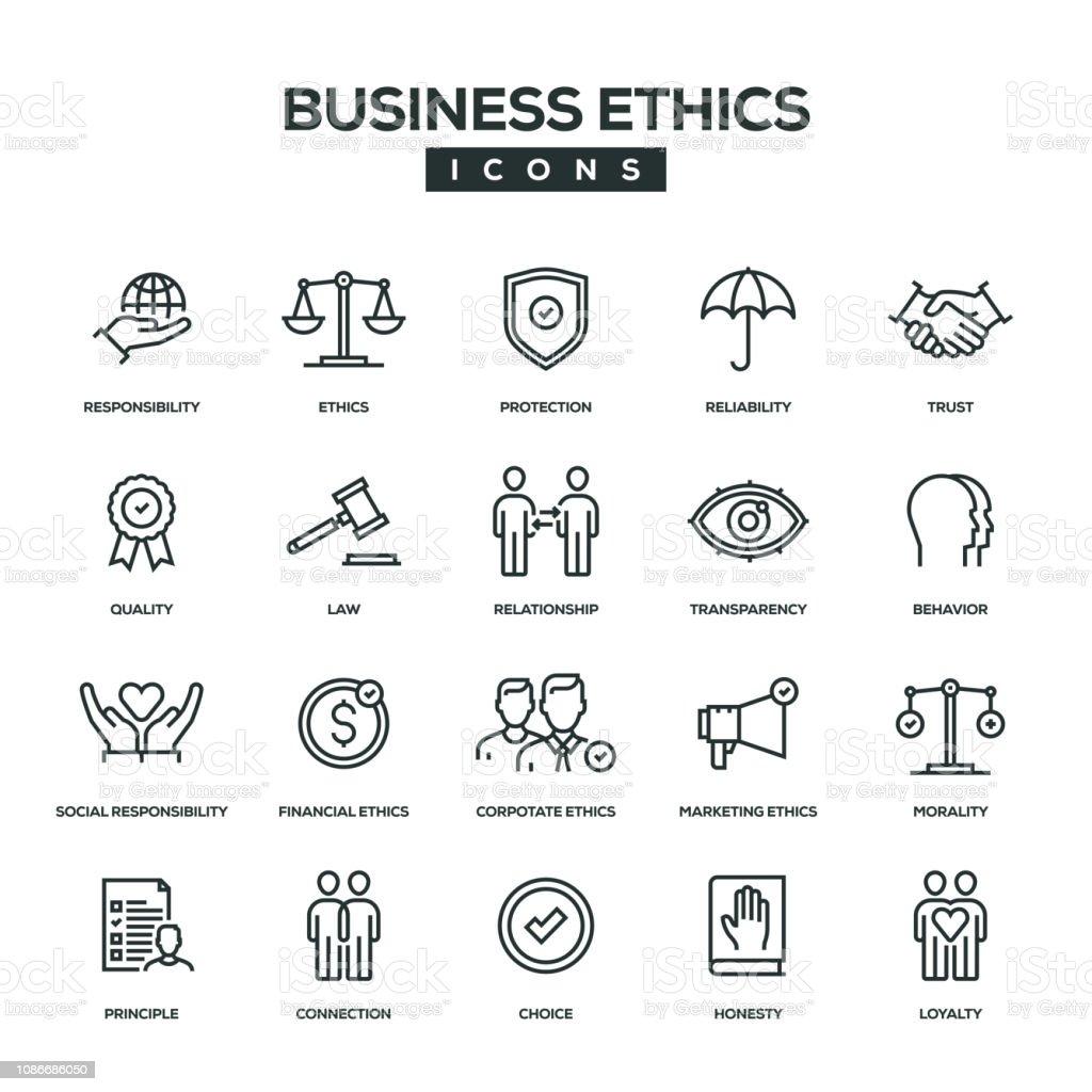 Business Ethics Line Icon Set Stock Illustration Download