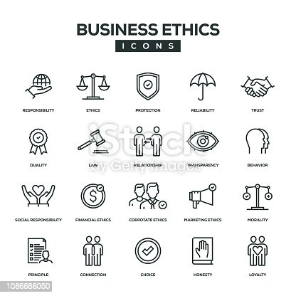 Business Ethics Line Icon Set