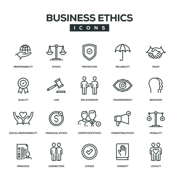 illustrations, cliparts, dessins animés et icônes de business ethics ligne icon set - rse