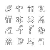 Business ethics linear icons set. Business deal, agreement. Core values. Moral standards. Partnership, teamwork. Empathy, responsibility, trust, honesty. Isolated vector illustrations. Editable stroke