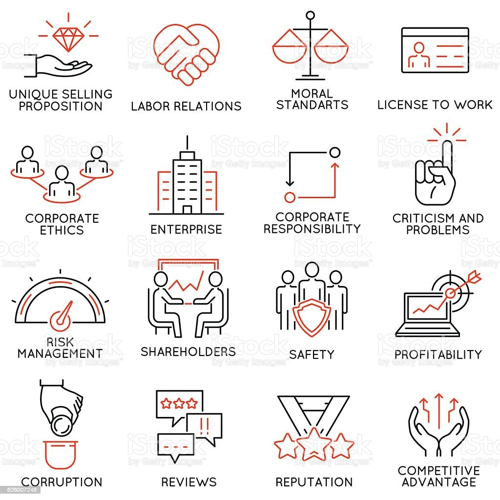 Business ethics, management, strategy and development icons - part 1 - Illustration vectorielle