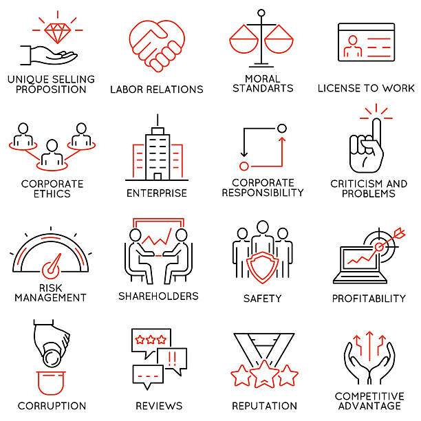 business ethics, management, strategy and development icons - part 1 - supervisor stock illustrations, clip art, cartoons, & icons