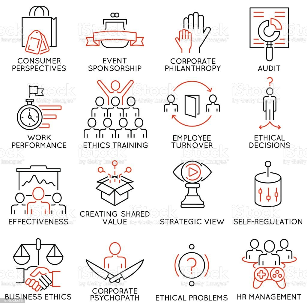 Business ethics, management, strategy and development icons - part 2 vector art illustration