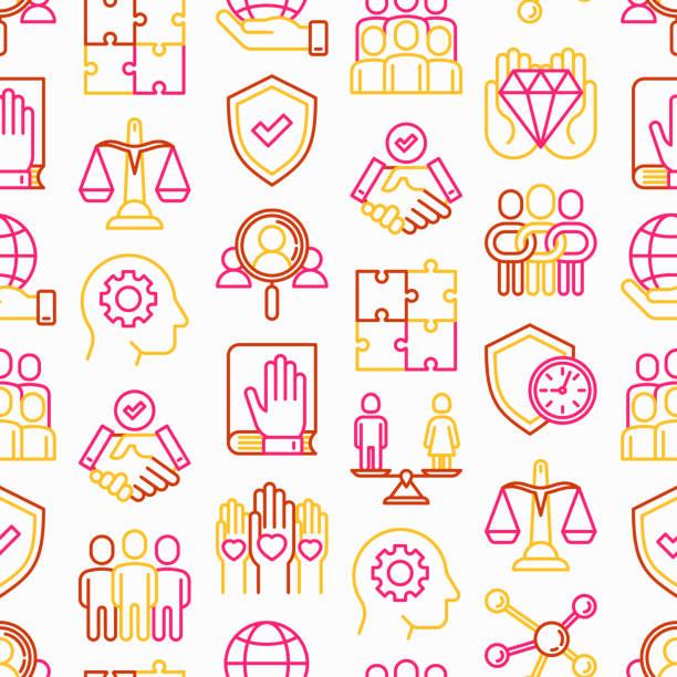 geschäftsethik nahtloses muster mit dünnen ikonen: verbindung, vereinigung, vertrauen, ehrlichkeit, verantwortung, gerechtigkeit, engagement, nein zu rassismus, geschlechterbeschäftigung, kernwerte. vector illustration. - trust stock-grafiken, -clipart, -cartoons und -symbole