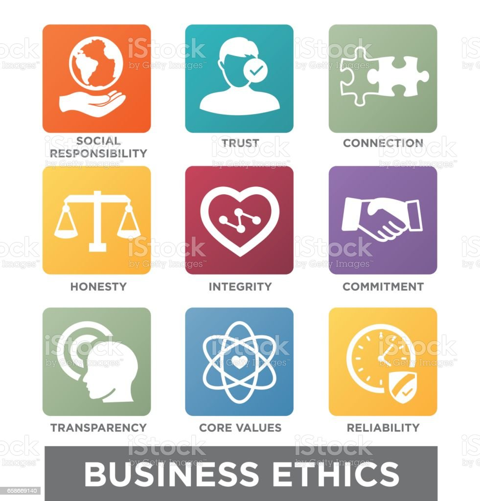 Business Ethics Solid Icon Set vector art illustration