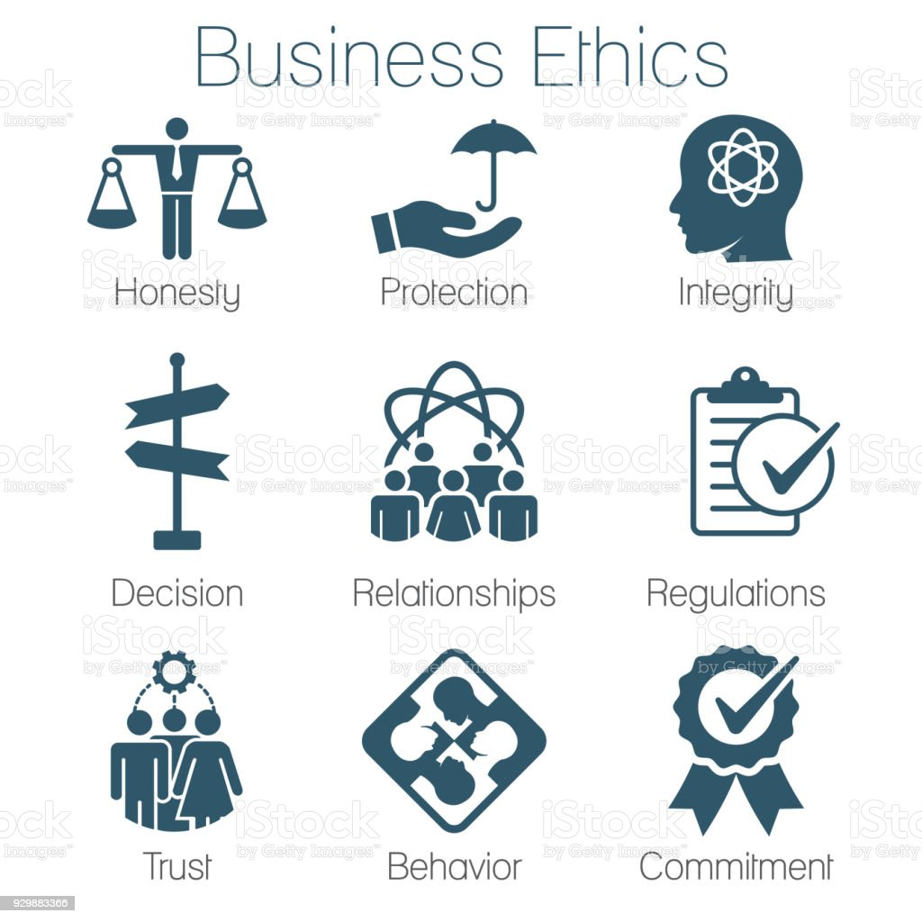Business Ethics Solid Icon Set with Honesty, Integrity, Commitment, and Decision vector art illustration