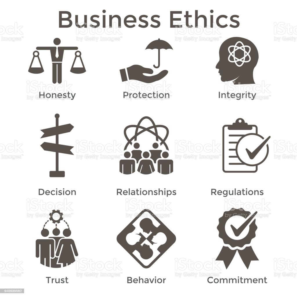 Business Ethics Solid Icon Set With Honesty Integrity Commitment And