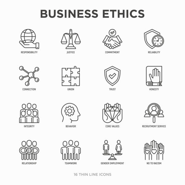 Business ethics thin line icons set: connection, union, trust, honesty, responsibility, justice, commitment, no to racism, recruitment service, teamwork, gender employment. Modern vector illustration. Business ethics thin line icons set: connection, union, trust, honesty, responsibility, justice, commitment, no to racism, recruitment service, teamwork, gender employment. Modern vector illustration. dedicated stock illustrations