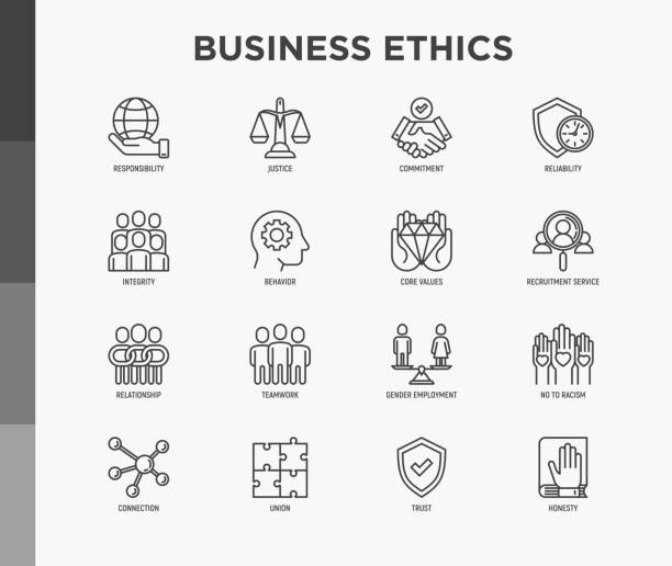 Business ethics thin line icons set: connection, union, trust, honesty, responsibility, justice, commitment, no to racism, teamwork, gender employment, core values. Modern vector illustration. Business ethics thin line icons set: connection, union, trust, honesty, responsibility, justice, commitment, no to racism, teamwork, gender employment, core values. Modern vector illustration. corporate responsibility stock illustrations