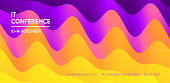 Business event invitation template. Abstract wavy background for banner, flyer and poster. Dynamic effect. Vector illustration. Can be used for advertising, marketing, presentation.
