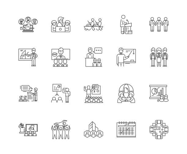 ilustraciones, imágenes clip art, dibujos animados e iconos de stock de iconos de línea de eventos de negocios, signos, conjunto de vectores, concepto de ilustración de contorno - training