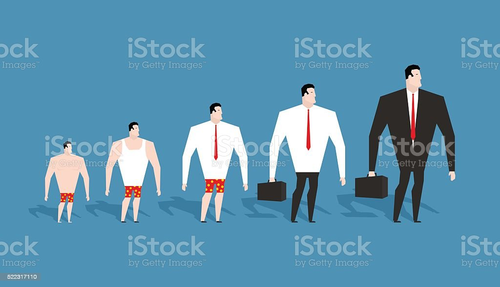 Business evolution. development of simple worker in pants to bos