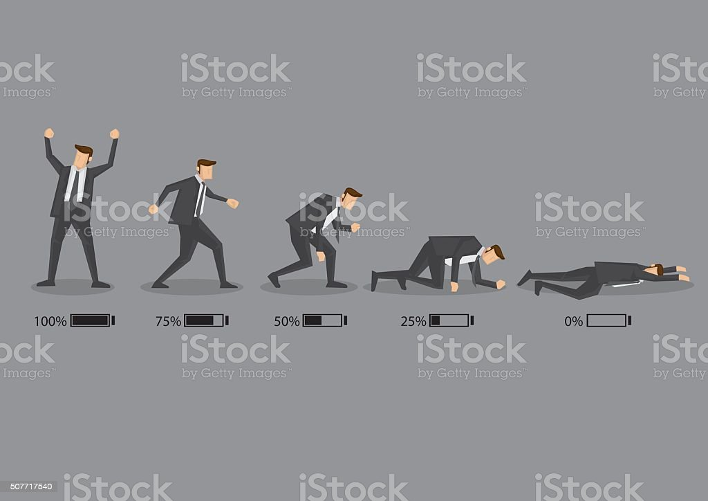 Business Executive and His Energy Level Concept Vector Cartoon I - Royalty-free Adult stock vector