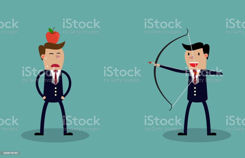 Business executive holding bow and arrow vector art illustration