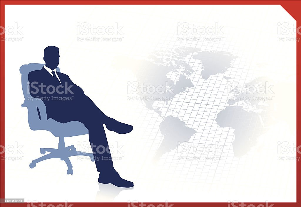 Business executive on global communication background royalty-free stock vector art
