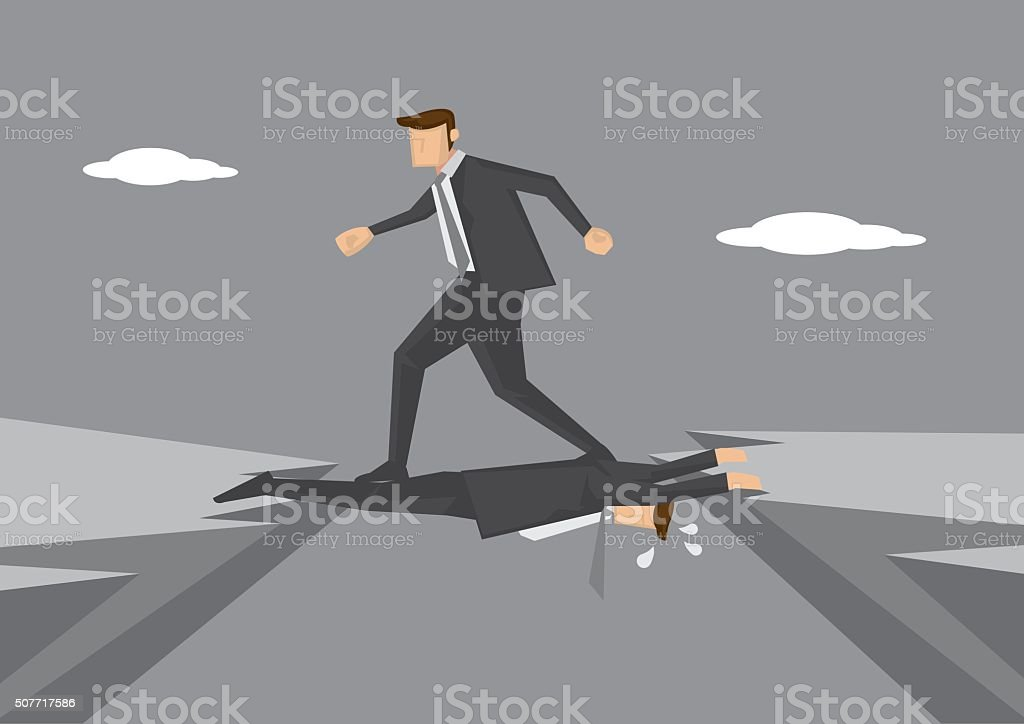 Business Executive Stepping on Colleague vector art illustration