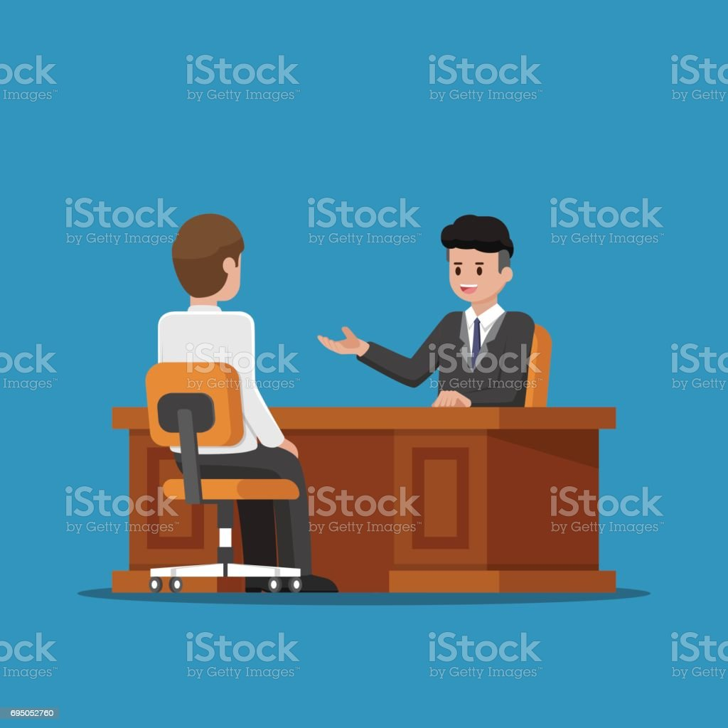 Business executive talking with employee. vector art illustration