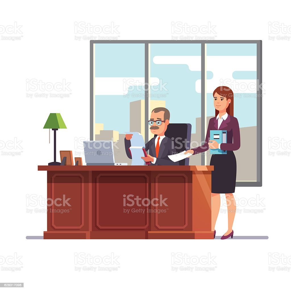Business executive with a secretary at his desk vector art illustration