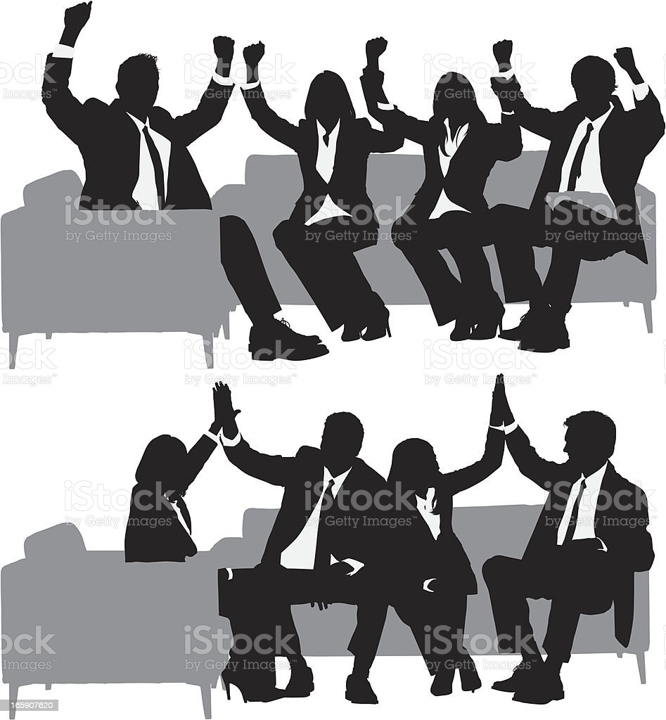 Business executives celebrating their success vector art illustration