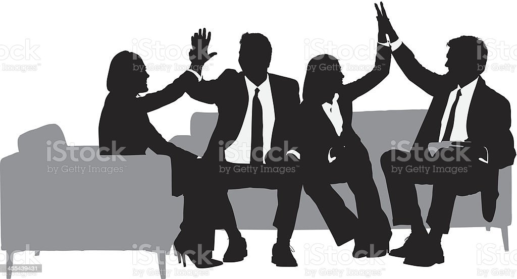 Business executives giving high-five to each other vector art illustration