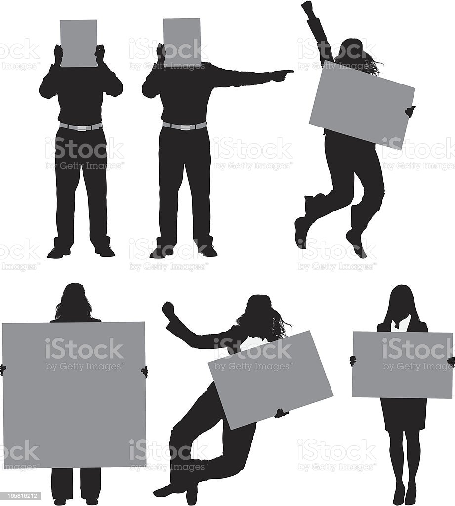 Business executives holding placards royalty-free stock vector art