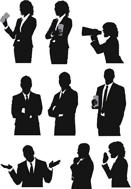 ilustrações de stock, clip art, desenhos animados e ícones de executivos de negócios em poses diferentes - da cintura para cima