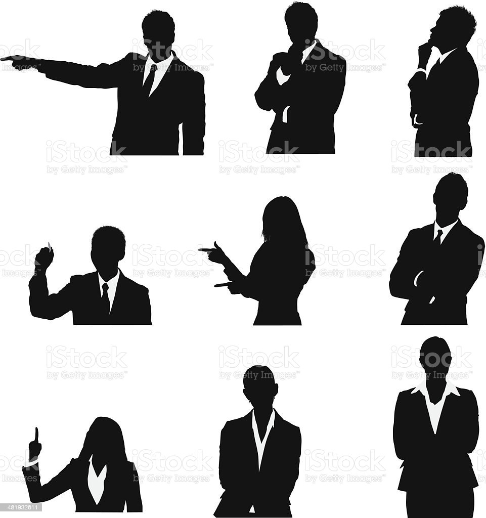 Business executives in different poses vector art illustration