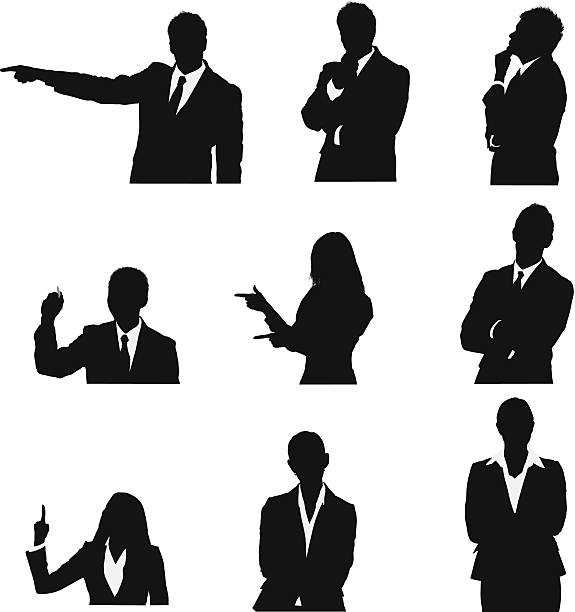 stockillustraties, clipart, cartoons en iconen met business executives in different poses - overhemd en stropdas