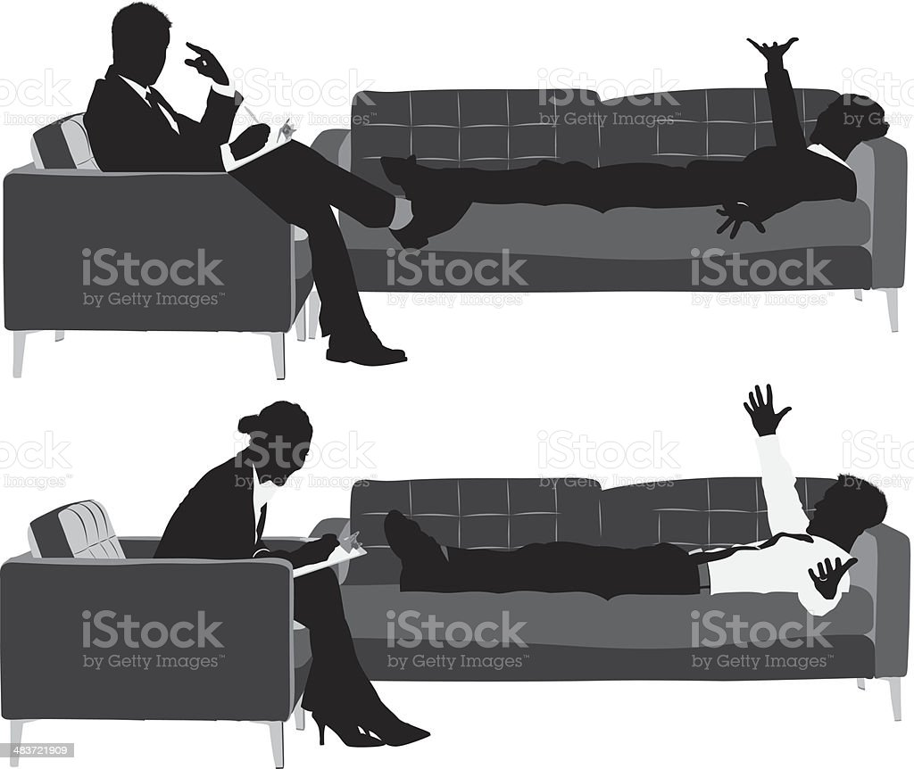Business executives on couch vector art illustration