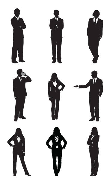 stockillustraties, clipart, cartoons en iconen met business executives standing in different poses - overhemd en stropdas