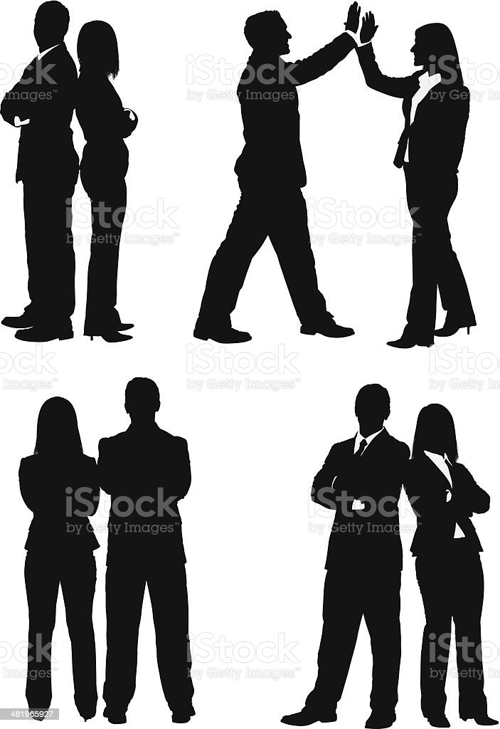 Business executives standing together vector art illustration
