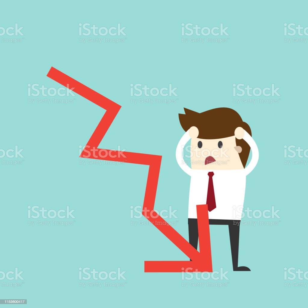 Business fail. Graph down vector flat illustration