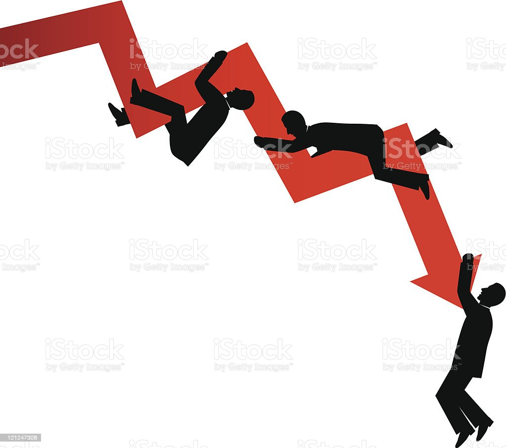 Business failing cartoon design vector art illustration