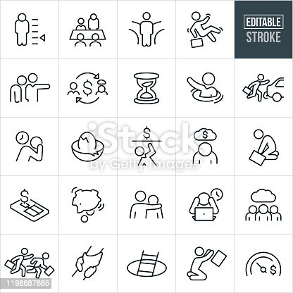 A set of business failure icons that include editable strokes or outlines using the EPS vector file. The icons include business people failing at business, a business person with their head down, business person without the proper credentials and skills, a businessman in a boardroom with head down, a business person at a crossroads, business person falling, person being fired from their job, hourglass, businessperson drowning, business person with head in hands, cracked nest egg, business person in debt, business person in despair and other related icons.