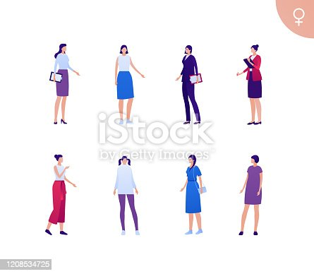 Business female asian ethnic people set. Vector flat person illustration. Group of white skin corporate women in different cloth and poses. Design element for banner, poster, background, sketch, art