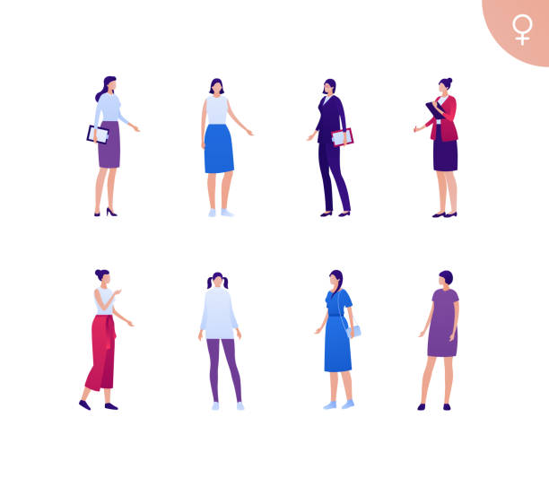 Business female asian ethnic people set. Vector flat person illustration. Group of white skin corporate women in different cloth and poses. Design element for banner, poster, background, sketch, art Business female asian ethnic people set. Vector flat person illustration. Group of white skin corporate women in different cloth and poses. Design element for banner, poster, background, sketch, art colleague stock illustrations