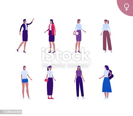 Business female hispanic ethnic people set. Vector flat person illustration. Group of dark skin corporate women in different cloth and poses. Design element for banner, poster, background, sketch, art