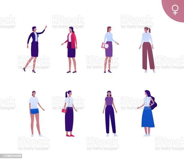 Zakelijke Vrouwelijke Spaanse Etnische Mensen Reeks De Vlakke Persoonsillustratie Van De Vector Groep Donkere Huid Collectieve Vrouwen In Verschillende Doek En Stelt Ontwerpelement Voor Banner Poster Achtergrond Schets Kunst Stockvectorkunst en meer beelden van Amerikaanse cultuur