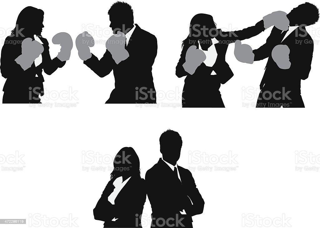 Business fight vector art illustration