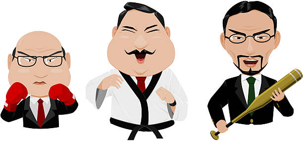 business fighter - old man puppet stock illustrations, clip art, cartoons, & icons