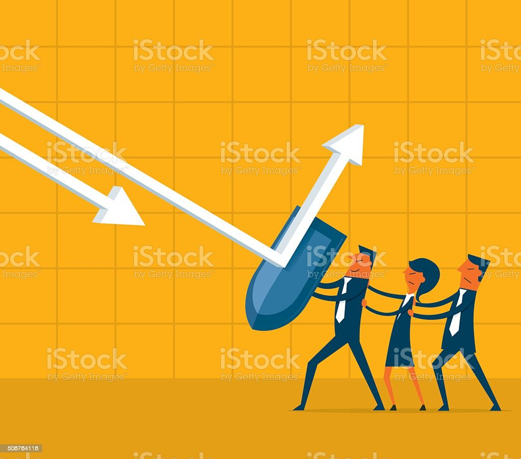 Business Fighting vector art illustration