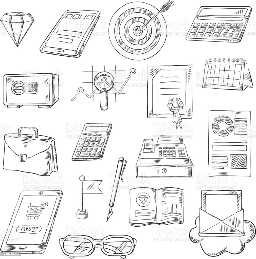 Business, finance and banking sketch icons vector art illustration