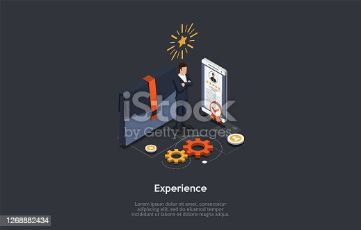 Business, Finance And Investments In Idea Experience Concept. An Employer, The Smartphone With Five Stars Rated Profile And Big Briefcase On Grey Background. Colorful 3d Isometric Vector Illustration.