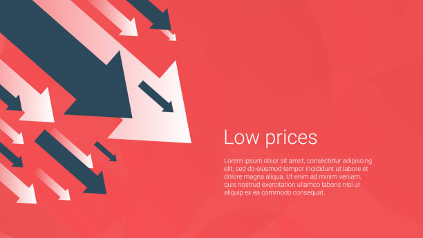 business finance crisis concept, low sales. money fall down symbol. arrow decrease economy stretching rising drop. lost crisis bankrupt declining. cost reduction. loss of income. vector illustration. - lost stock illustrations