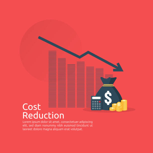 business finance crisis concept. stack pile coins and money bag icon. arrow decrease economy stretching rising drop. lost bankrupt declining. cost reduction. loss of income. vector illustration - lost stock illustrations