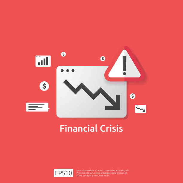 business finance crisis concept with alert exclamation mark. money graph fall down symbol. arrow decrease economy stretching rising drop. lost bankrupt declining. cost reduction. loss of income - lost stock illustrations