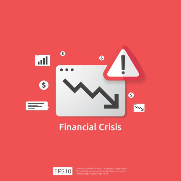 경고 느낌표가 있는 비즈니스 금융 위기 개념입니다. 머니 그래프는 아래로 떨어질 기호입니다. 화살표 감소 경제 스트레칭 하락. 파산이 거절 되었습니다. 비용 절감. 소득 손실 - lost stock illustrations