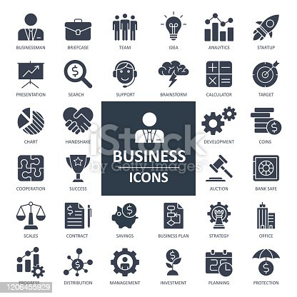 Business Finance Economy Icons - Bold Solid Vector Illustration