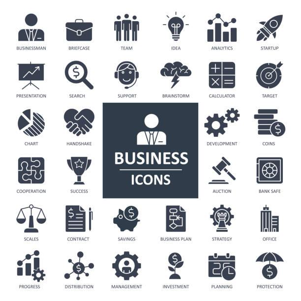 ilustraciones, imágenes clip art, dibujos animados e iconos de stock de iconos de la economía financiera empresarial - vector audaz sólido - sólido