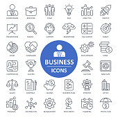Business Finance Economy Icons - Thin Line Vector Illustration